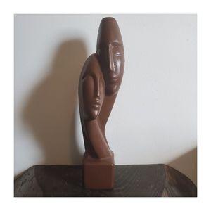 Vintage Handmade Pottery Lovers Bust Statue